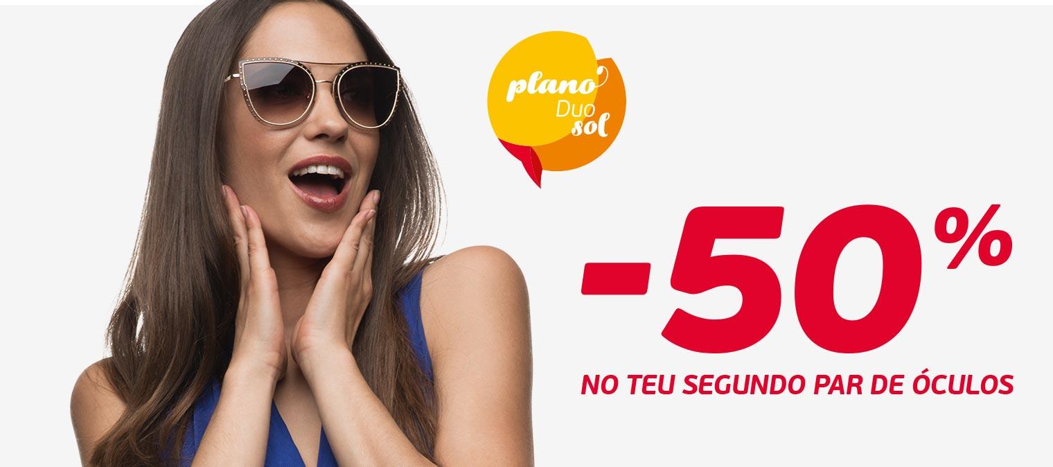 o segundo par de óculos de sol a metade do preço